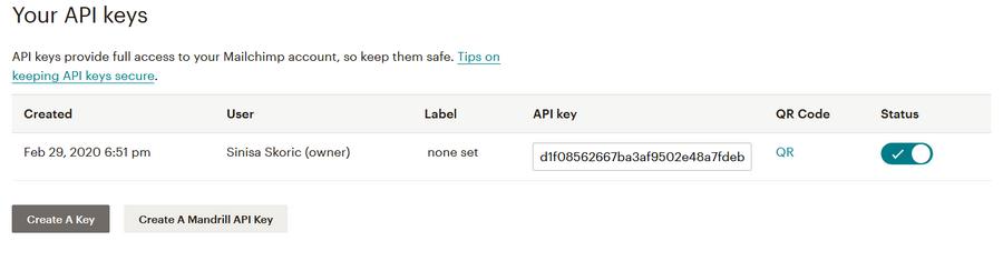 Mailchimp generisanje API ključa
