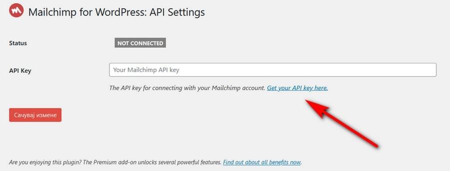 Mailchip API kluc za povezivanje mailchimpa sa wordpressom