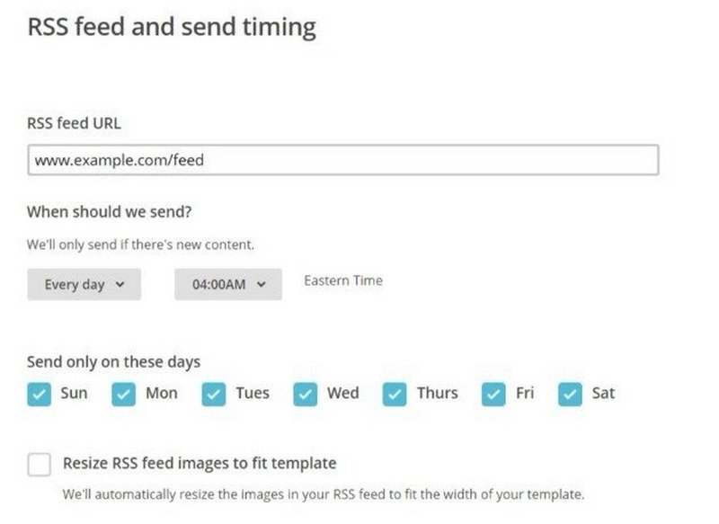 Mailchip podešavanje RSS uRL-a