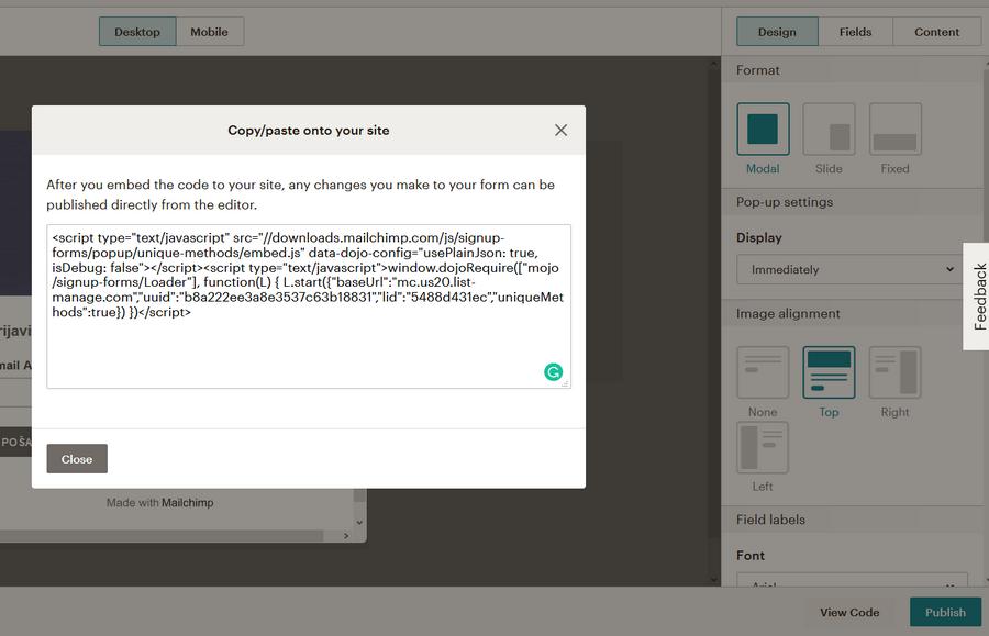 kod za pop-up formu generisan u mailchimpu