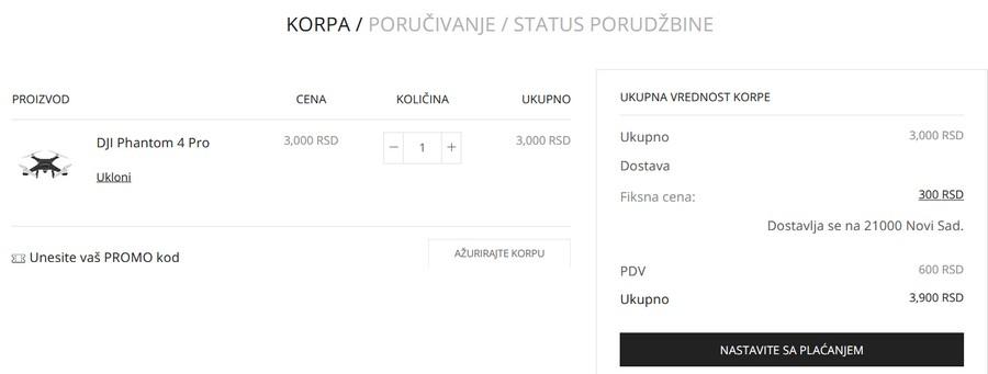 online prodavnice prikaz cene sa porezom u korpi